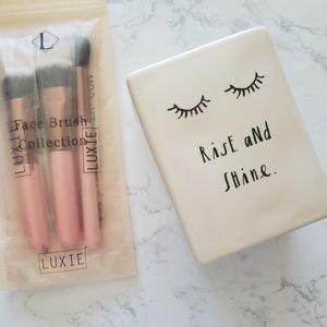 Luxie Brush Set & Rae Dunn Brush Holder